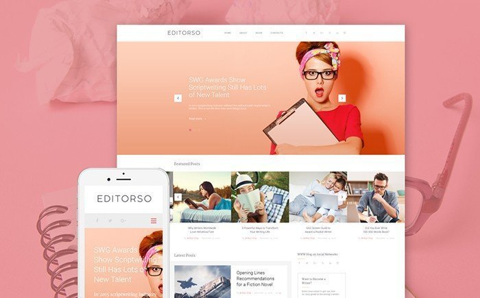 Editorso - GPL Writer WordPress Template