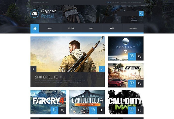 Destiny Games Portal WordPress Template