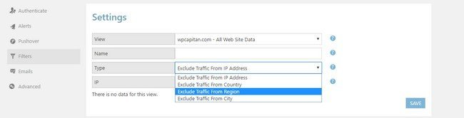 Google Analytics WD comes with data filtering functionality.