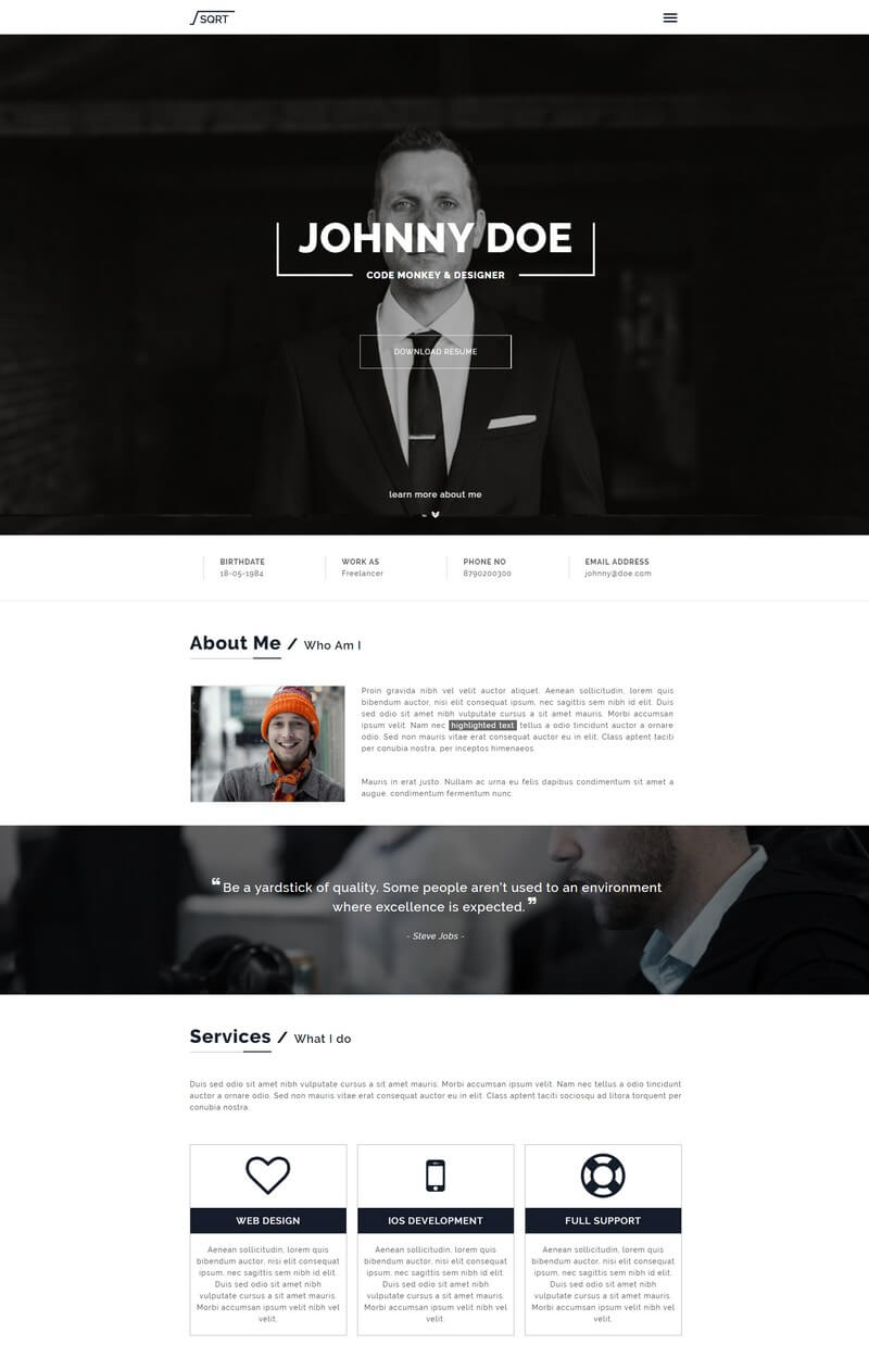 Squareroot WordPress Resume & vCard Theme