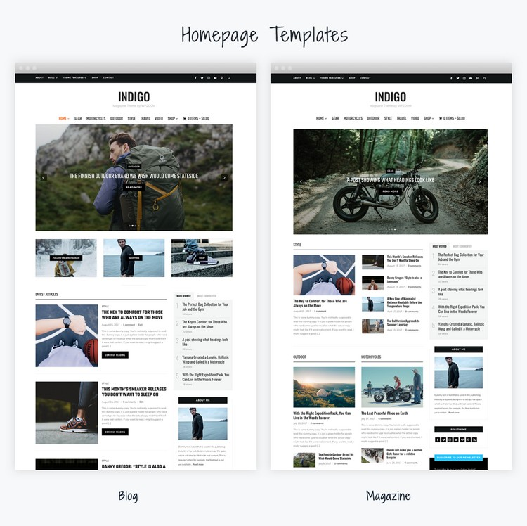 The homepage can be used in both blog or magazine layouts. Or combine both layouts.