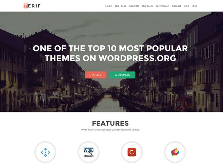 Zerif Lite is a single page based theme that caters to all your varying services.