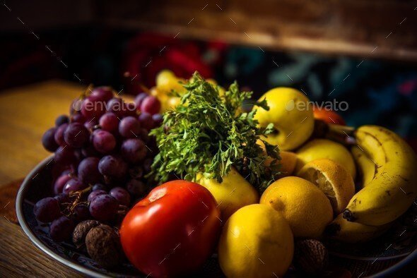 Grab Envato Free Files of The Month – December 2017 - Mix of Delicious Fruits in a Plate on a Wooden Table.