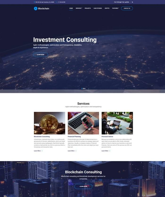 Blockchain Cryptocurrency WordPress Theme