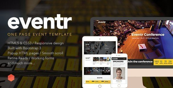 Eventr is a great looking one-page HTML template with a lot of features included.