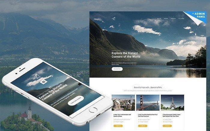 Skyline – Light Travel Agency MotoCMS 3 Landing Page Template