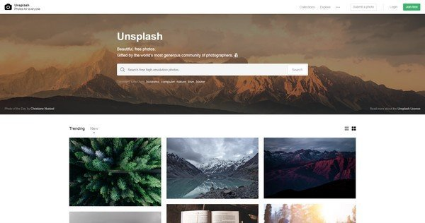 Unsplash is a website offering users ten high resolution, free photographs every ten days.