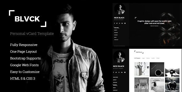 Blvck - Personal vCard & Resume Template.