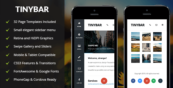 With Tinybar Mobile you can create an elegant menu - a tiny bar for your website.