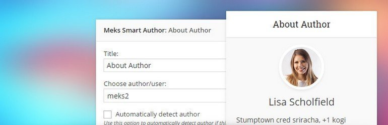 Meks Smart Author Widget is another free author WordPress plugin created by Meks.