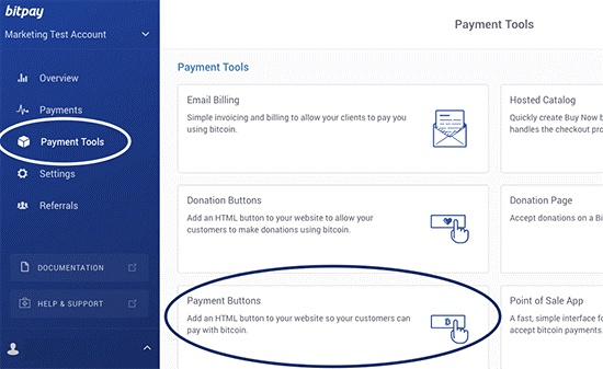 Upon launching the BitPay portal, you can visit the option Payment Tools.