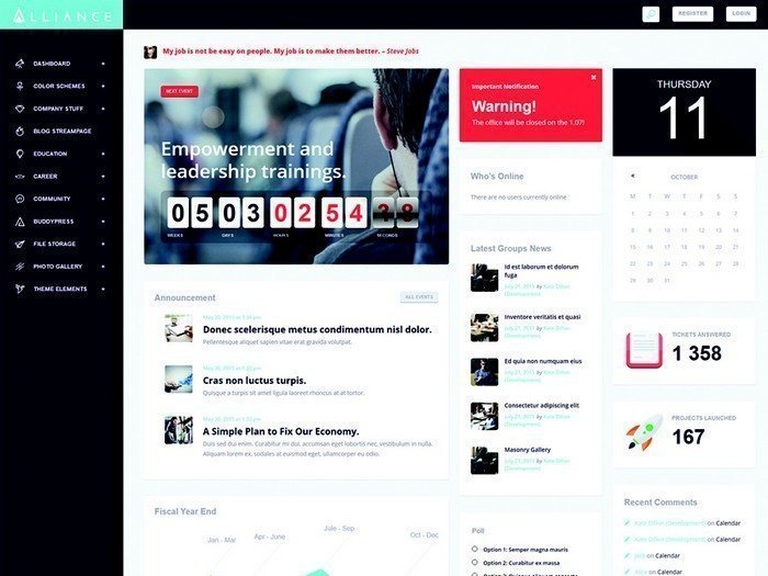 Alliance is a modern, and attractive intranet/extranet WordPress Theme.