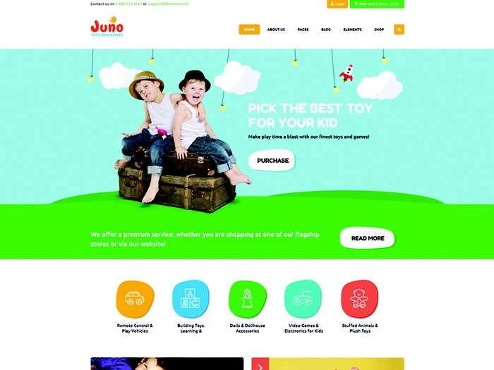 Juno is a beautiful WP theme crafted for kids toys and games stores.