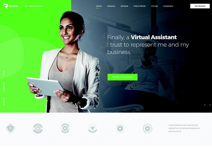 Revirta is a stylish and beautiful theme that is perfect for virtual assistant websites.
