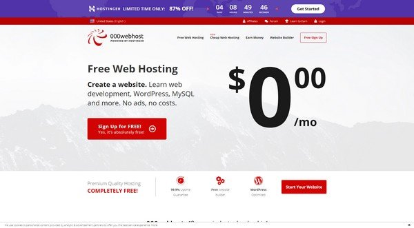 000webhost.com offer free hosting to its customers.
