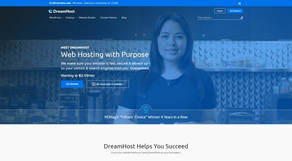 Dreamhost is a popular and award-winning hosting provider.