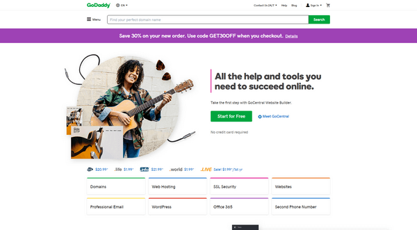 GoDaddy is one of the most popular hosting and domain name registration services.