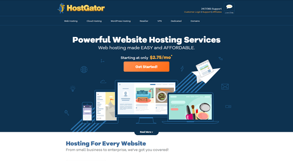 HostGator is a popular hosting provider.