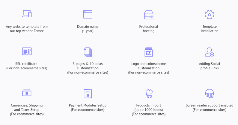 This offer from Templatemonster include these features.