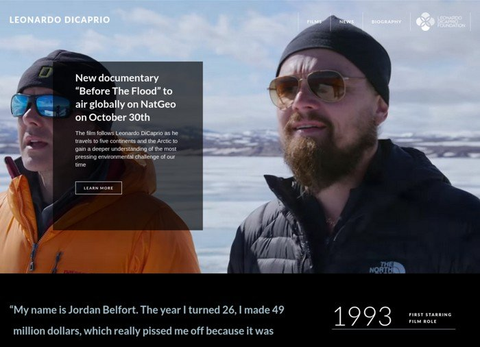 15 Celebrities and Bands Using WordPress - Leonardo DiCaprio is a well-known American actor and film producer.