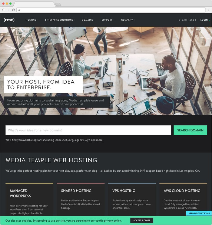 Media Temple is a hosting company based in Los Angeles, California.