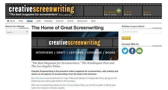 CreativeScreenWriting.comis a online magazine for screenwriters.