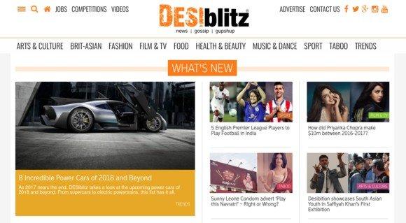 Desiblitz is a lifestyle magazine.