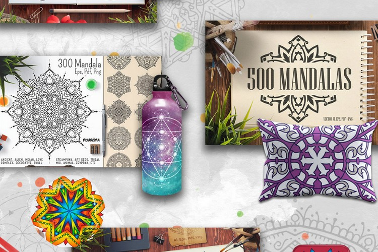 The Unique Mandala Designs Bundle from Pixelo