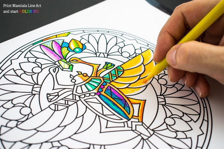 You can even have fun coloring the print Mandalas with your kids.