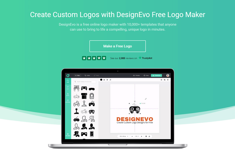 With DesignEvo Logo Maker, you can create beautiful and creative custom logos for your web project or website.