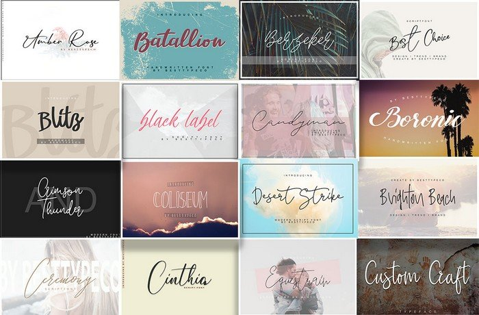 The Modern Script Fonts Bundle is a collection of 81 beautiful cursive, calligraphy, and handwriting fonts.