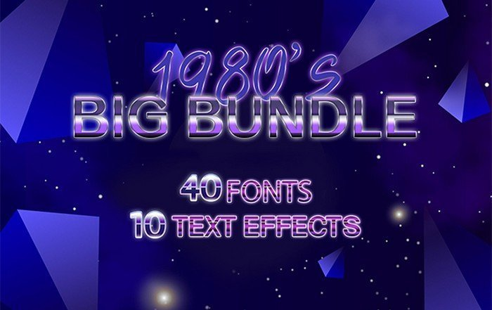 Creative Font Bundles - The 1980's Big Bundle is a beautiful collection of 40 fonts retro and vintage fonts.