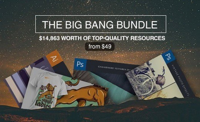 The Big Bang Bundle comes with vectors to PS add-ons, fonts, and tutorials.