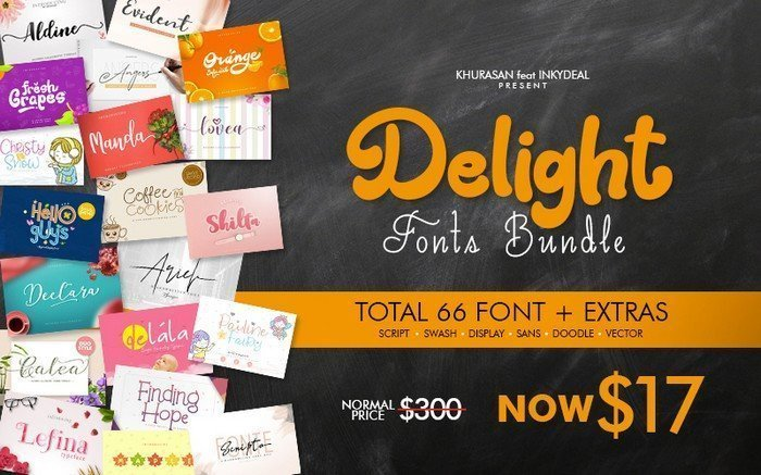 The Delight Fonts Bundle comes with 66 great looking fonts.