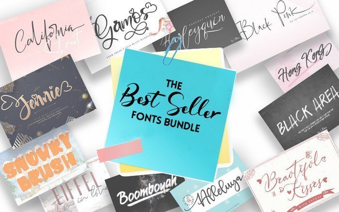 The Best Seller Fonts Bundle is a collection with 100+ handwritten fonts in 50 typefaces.