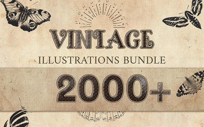 The Vintage Illustrations Bundle is an impressive and vintage-inspired collection of 2000+ hand-drawn illustrations.