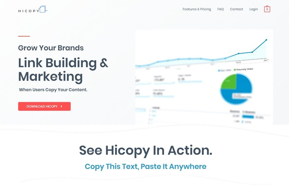 Hicopy is a powerful tool with link building and marketing built-in.