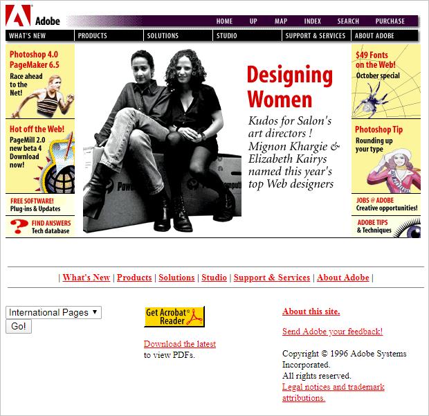 Adobe website layout 1996.