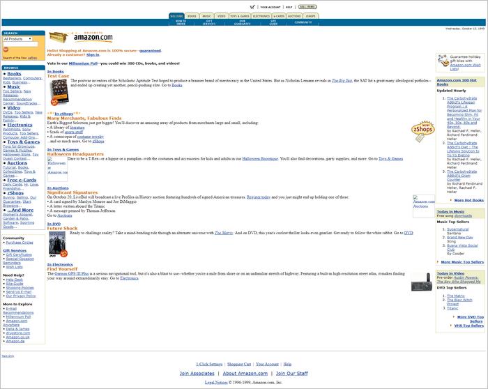 Amazon website layout 1999.