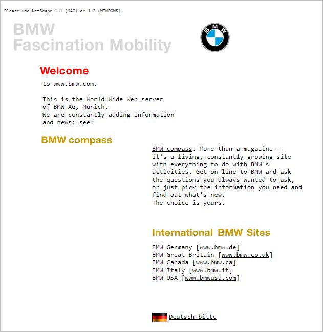 Famous Brands Websites - BMW website layout 1996.