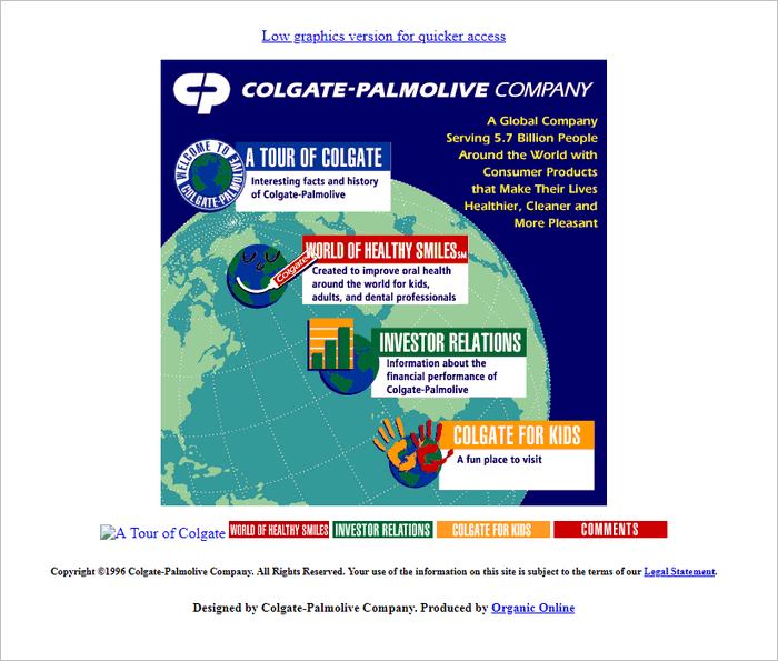 Famous Brands Websites - Colgate website layout 1996.