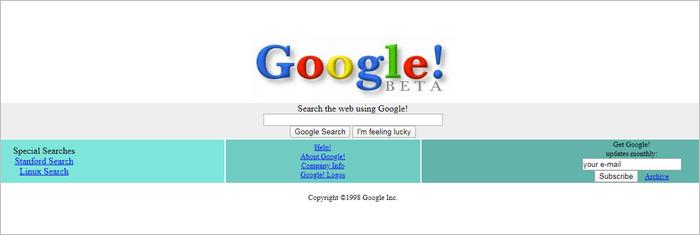 Google website layout 1998.