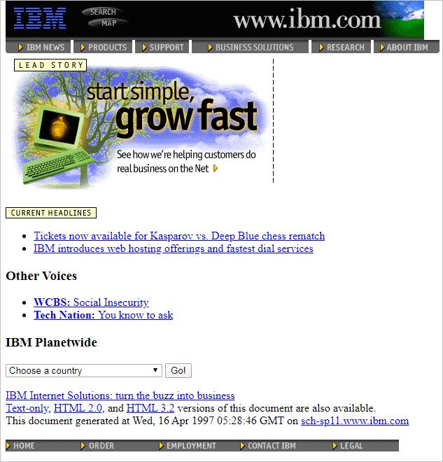 IBM website layout 1997.