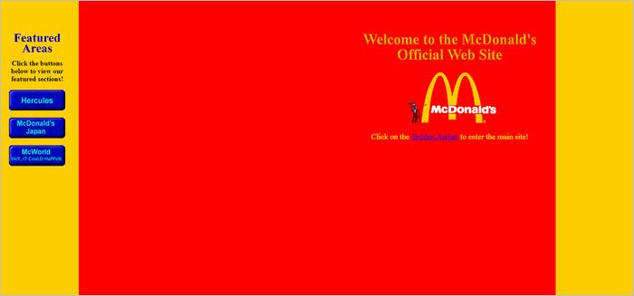 Famous Brands Websites - McDonald's website layout 1997.