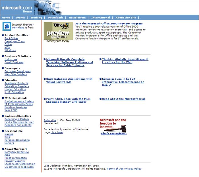 Microsoft website layout 1998.