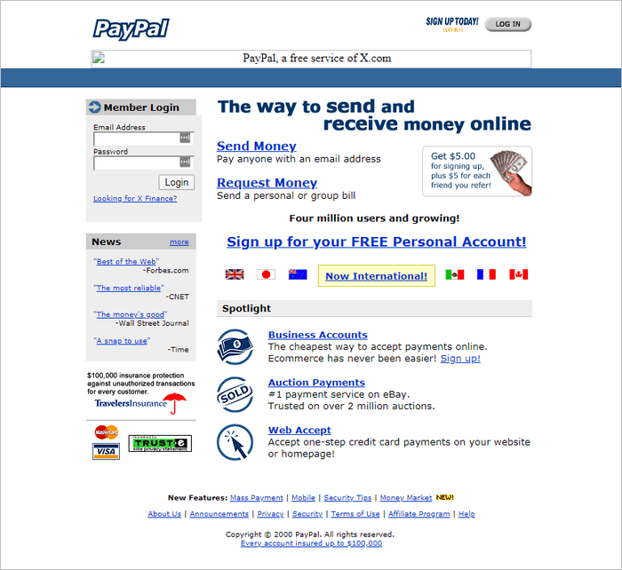 PayPal website layout 2000.