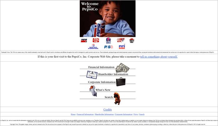 Famous Brands Websites - Pepsi website layout 1996.