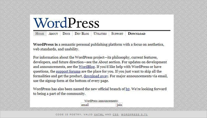 WordPress website layout 2003.