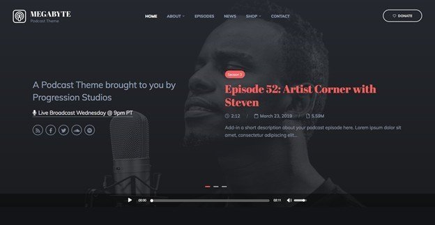 Megabyte is an elegant WordPress theme for the podcast.