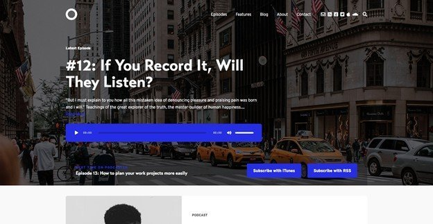 Podcaster is a clean and great looking WordPress podcast theme.